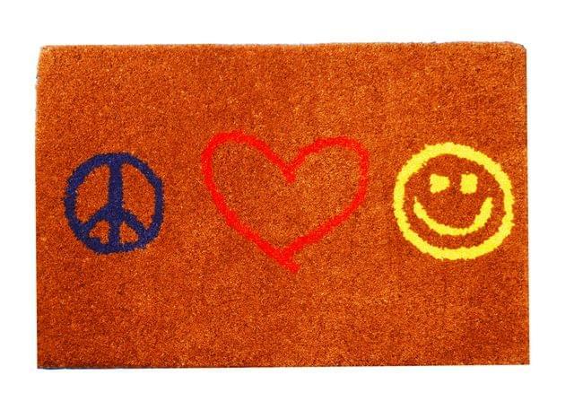 Purpledip Handwoven Doormat 'Peace Love Joy': Thick, Soft, Non-skid Floor Carpet Rug (11311a)