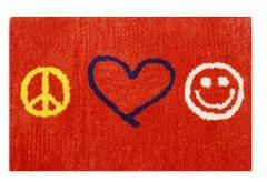 Purpledip Handwoven Doormat 'Peace Love Joy': Thick, Soft, Non-skid Floor Carpet Rug (11311b)