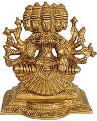 Gayatri Mata Brass statue Hindu Goddess Deity Beautiful Rare Statue 10842