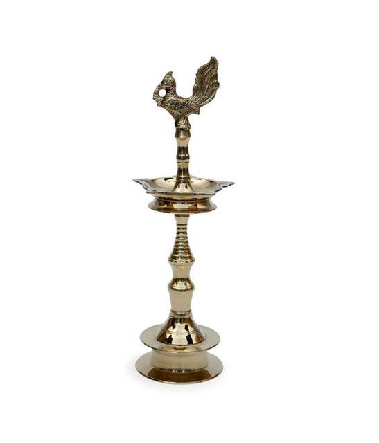 Brass Oil Lamp Kuthu Vilakku Diya Peacock Design 16 inch, 1.8 kgs (11314)