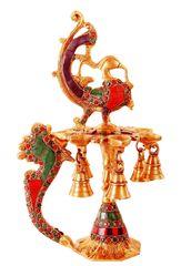 Brass Deepak/Diya Kuthu Vilakku: Peacock Design With Magnificient Gemstones; Indian Religious Gift (11315)