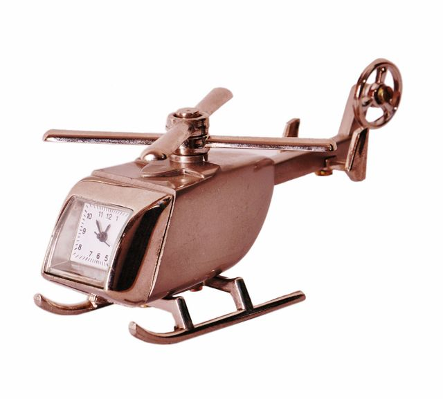 Table Clock 'Fly Away': Helicopter Design Small Timepiece For Home, Office Car Dashboard Or Kids Room (11204)