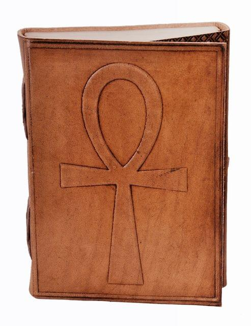 Leather Journal (Diary Notebook) 'Ankh Cross - Breath Of Life': Handmade Paper In Leather Cover For Corporate Gift or Personal Memoir (11324)