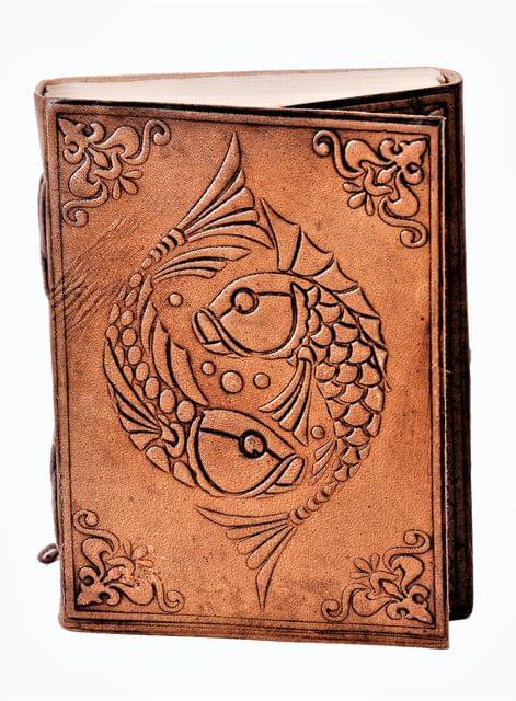 Leather Journal (Diary Notebook) 'Koi Fish - Fire & Water (Yin & Yang)': Handmade Paper In Leather Cover For Corporate Gift or Personal Memoir (11325)