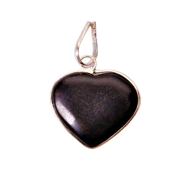 Black Agate Heart Pendant For Necklace: Reiki Energized Natural Crystal Good Luck Charm (11336)
