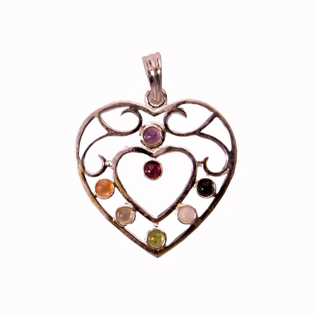 Seven Chakra Crystal Reiki Pendant Heart Shape (11341)