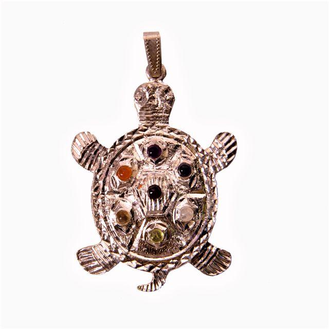 Seven Chakra Crystal Reiki Pendant Tortoise Shape (11342)