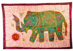 Cotton Tapestry 'Royal Elephant': Vintage Patchwork Sequin Embroidery Bed Throw Or Wall Hanging (11357)