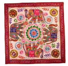Cotton Tapestry 'Royal Welcome': Vintage Embroidery Table Cover Or Wall Hanging (11363)
