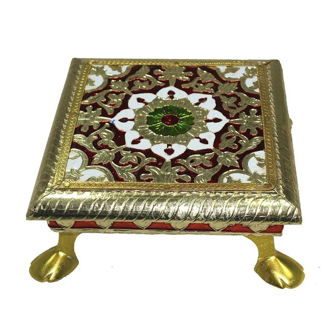 Wooden Chowki With Meenakari Work: Small Stand For Home Temple, 5.5 Inches (10204A)