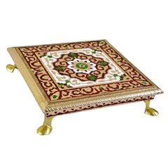 Wooden Meenakari Chowki: Stool Stand For Home Temple, 7.5 Inches (10453A)