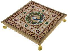 Meenakari Chowki: Wooden Stand For Idols, 9.5 Inches (10905A)