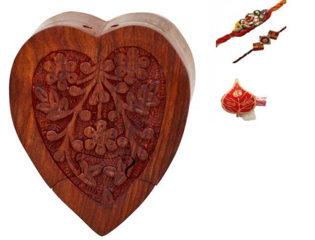 Purpledip Memorable Rakhi Hamper For Brother : Heart Shaped Wooden Mystery Box With 2 Designer Rakhis & Roli Chawal Pack (rakhi65)