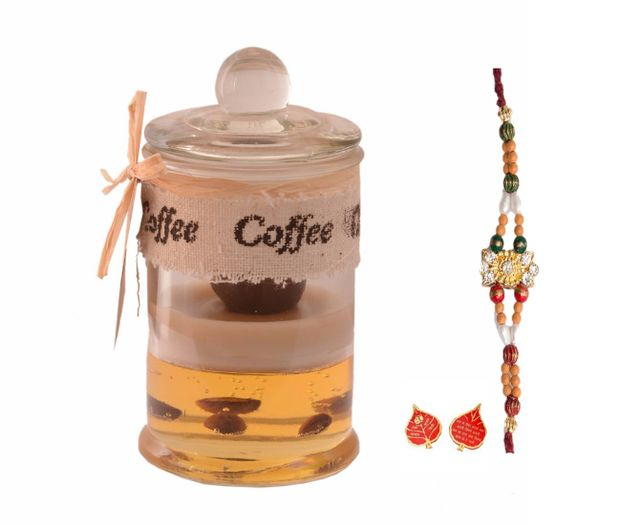 Purpledip Rakhi Set for Coffee Loving Brother: Coffee Scented Candle, Desinger Rakhi, Roli Chawal (rakhi69)