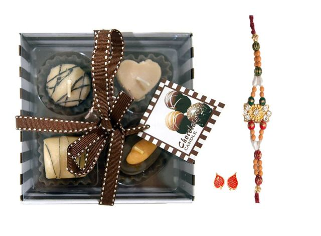 Purpledip Rakhi Set for Chocolate Loving Brother: Chocolate Scented Candles, Desinger Rakhi, Roli Chawal (rakhi70)