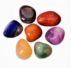 Purpledip Seven Chakra Tumbled Stones Set: Reiki Energized Polished Crystals (11334)