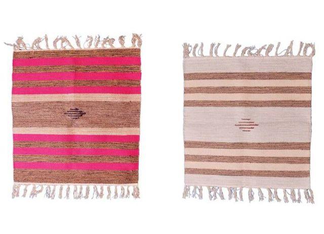 Cotton Aasan Mat Rug: Meditation Prayer Floor Sitting Small Mats (Set of 2)