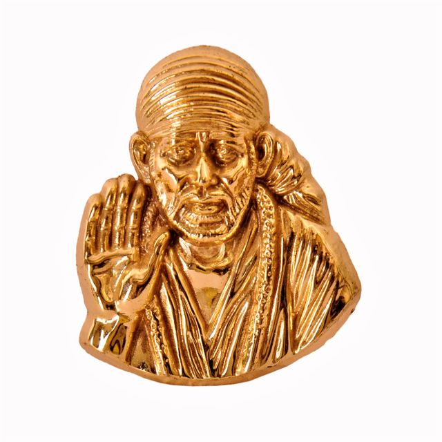 Shirdi Sai Baba Metal Statue in Golden Finish (10342A)