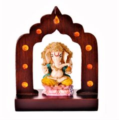 Ganesha Statue Under Temple Arch: Unique Idol for Table Top, Home Temple, or Car Dashboard (11374)