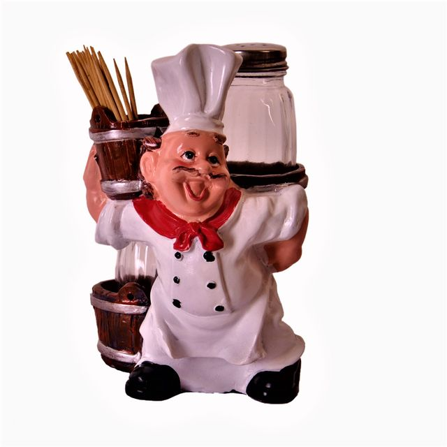 Ceramic Salt N Pepper Shaker with Toothpick Holder 'Masterchef'; Kitchen Dining Quirky Decor Gift (11378)