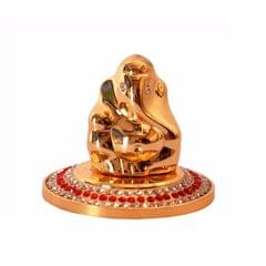 Ganesha Idol: Small Golden Statue for Table Top, Home Temple, or Car Dashboard (10987A)