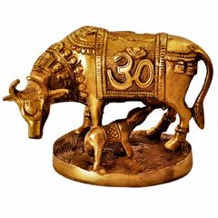 Brass Idol Kamdhenu Wishing Cow and Calf with Auspicious Om & Swatika Symbols: Good Luck Charm Decor Gift (11385)