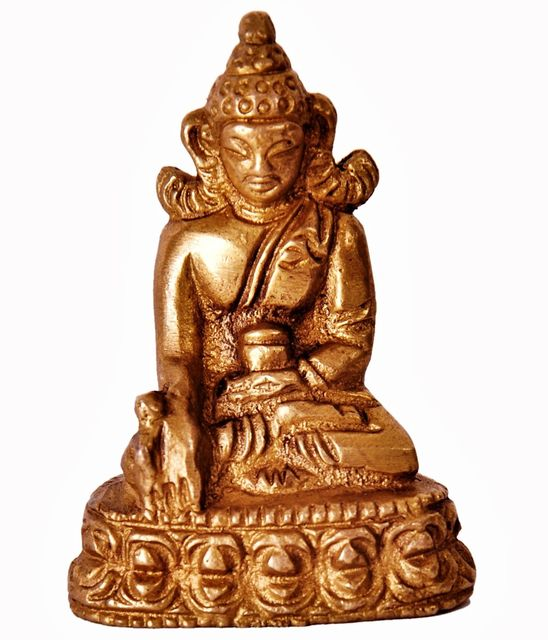 Mini Idol Lord Buddha: Solid Brass Metal Statue for Home Temple or Car Dashboard (11386)