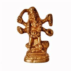 Mini Idol Supreme Goddess Maa Kali Mahakali: Pure Brass Statue For Home Temple Mandir (11388)