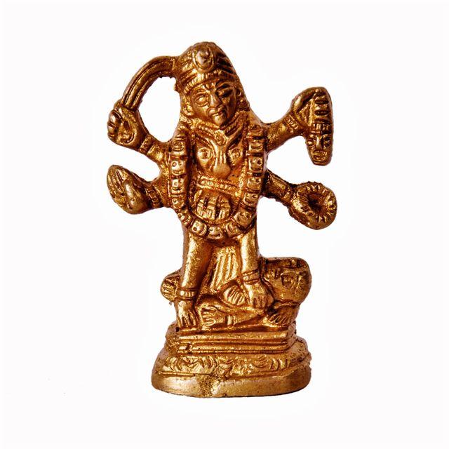 Mini Idol Supreme Goddess Maa Kali Mahakali: Pure Brass Statue For Home Temple Mandir (11388)
