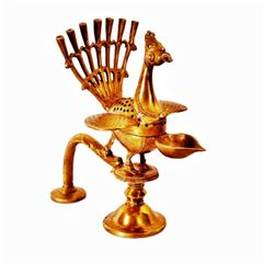 Brass Oil Lamp Kuthu Vilakku for Diya-Dhoop-Agarbatti in Majestic Design : Rare Antique Peacock Form Collectible Temple Decor (11394)