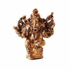 Rare Miniature Statue Virat Ganesha with 14 Hands, Unique Collectible Gift (11409)