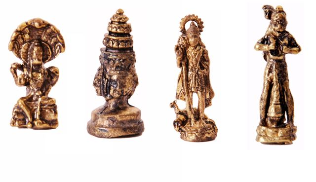 Rare Miniature Statue Set Hindu Gods (Vishnu, Brahma, Murugan, & Hanuman), Unique Collectible Gift (11418)