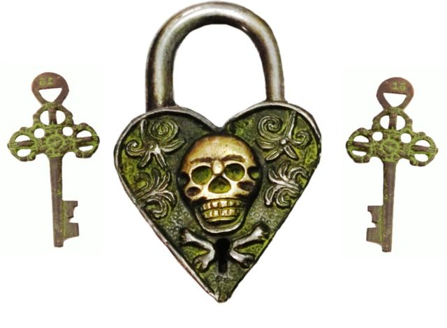 Brass Antique Padlock: Devil Love (11422)