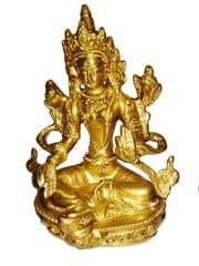 Brass Statue Green Tara, Female Bodhisattva: Tibetan Buddhist Goddess (11428)