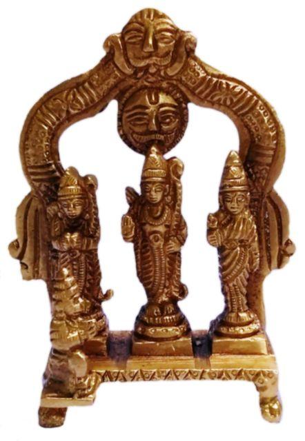 Brass Statue Ram Darbaar: Rama, Sita, Lakshman, Hanuman (11429)