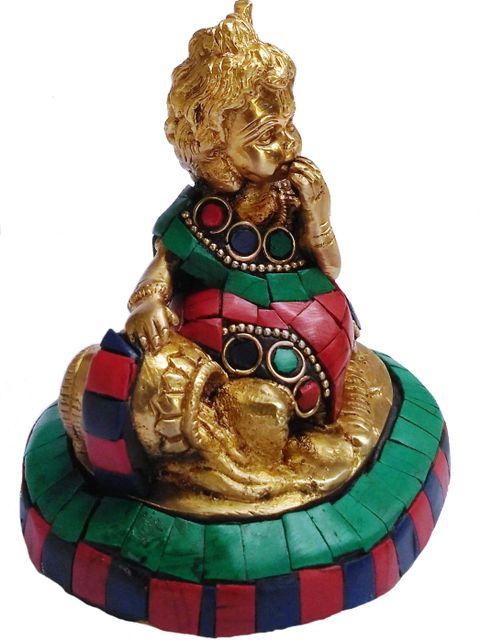 Brass Statue Lord Krishna Makhan Chor: Handmade Idol with Gemstones (11430)