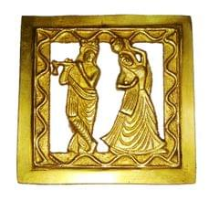 Brass Wall Hanging Plaque Radha Krishna: Dokra Craft Tribal Art Decor Statue (11438)
