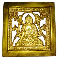 Brass Wall Hanging Plaque Gautam Buddha: Dokra Craft Tribal Art Decor Statue (11439)