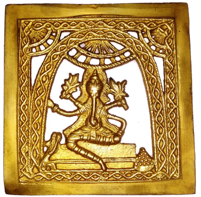 Brass Wall Hanging Plaque Vignaharta Ganesha: Dokra Craft Tribal Art Decor Statue (11440)