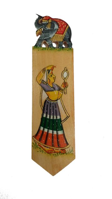 Wooden Bookmark Paper Holder: Hand Carved & Painted Souvenir for Book Lovers (11442a)
