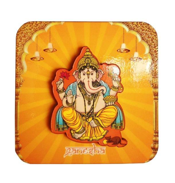 Purpledip Wooden Fridge Magnet: Ganesha (11459)