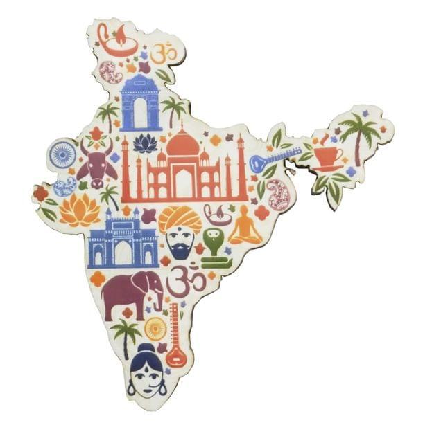 Purpledip Wooden Fridge Magnet: Incredible India (11463)