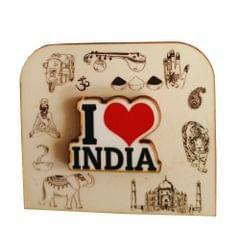 Purpledip Wooden Fridge Magnet: I Love India (11464)