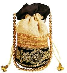 Purpledip Rich Velvet & Jute Potli Bag (Clutch, Drawstring Purse, Evening Handbag) For Women With Gold Embroidery Work and Golden Beads String , Black (11474)