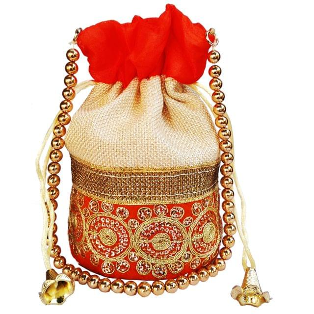 Purpledip Rich Velvet & Jute Potli Bag (Clutch, Drawstring Purse, Evening Handbag) For Women With Gold Embroidery Work and Golden Beads String , Orange (11475)