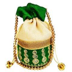 Purpledip Rich Velvet & Jute Potli Bag (Clutch, Drawstring Purse, Evening Handbag) For Women With Gold Embroidery Work and Golden Beads String ,Green  (11476)
