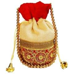 Purpledip Rich Velvet & Jute Potli Bag (Clutch, Drawstring Purse, Evening Handbag) For Women With Gold Embroidery Work and Golden Beads String , Red (11477)