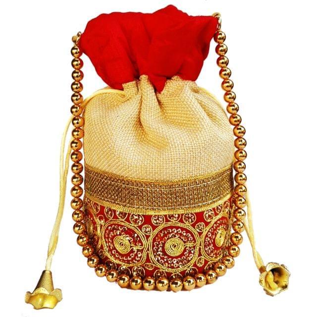 Purpledip Rich Velvet & Jute Potli Bag (Clutch, Drawstring Purse, Evening Handbag) For Women With Gold Embroidery Work and Golden Beads String , Red (11477)