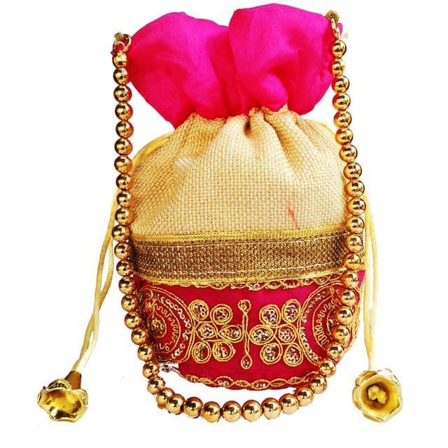 Purpledip Rich Velvet & Jute Potli Bag (Clutch, Drawstring Purse, Evening Handbag) For Women With Gold Embroidery Work and Golden Beads String , Fuchsia Pink (11478)