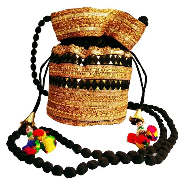 Purpledip Rich Velvet Potli Bag (Clutch, Drawstring Purse, Evening Handbag) For Women With  Heavy Gold Embroidery Work and Colorful Tassels , Black(11479)